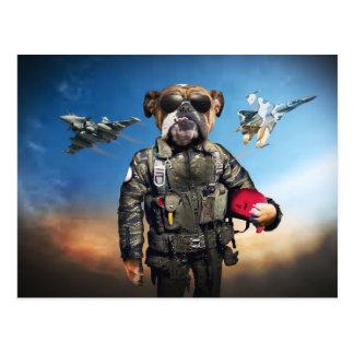 Cartão Postal Cão piloto, buldogue engraçado, buldogue