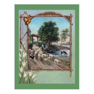 Cartão Postal Cão que reune o trajeto dos carneiros para baixo