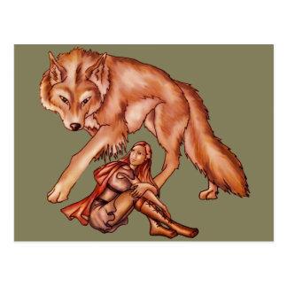 Cartão Postal Capa de equitação vermelha com o desenho dos