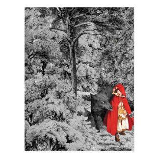 Cartão Postal Capa de equitação vermelha e o lobo