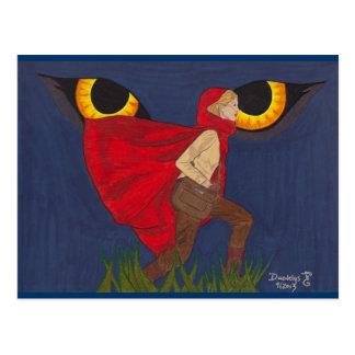 """Cartão Postal """"Capa de equitação vermelha"""" por Daedelys"""