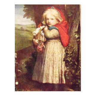 Cartão Postal Capa de equitação vermelha que embreia a cesta