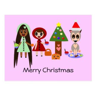 Cartão Postal Capa de equitação vermelha, Rapunzel na festa de