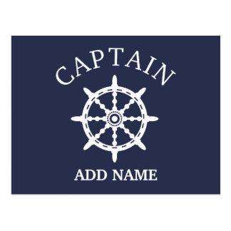 Cartão Postal Capitão do barco (personalize o Nome do capitão)