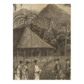 Cartão Postal Capitão Wallis e Tahitians