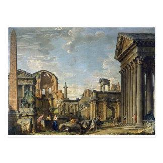 Cartão Postal Capricho arquitectónico por Giovanni Paolo Panini