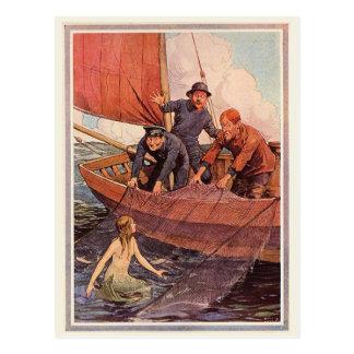 Cartão Postal Captura da sereia dos marinheiros do vintage