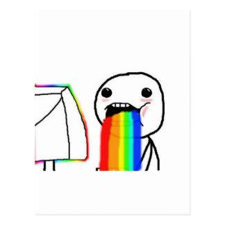 Cartão Postal Cara da cara do computador do arco-íris