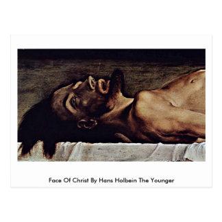 Cartão Postal Cara do cristo por Hans Holbein o mais novo