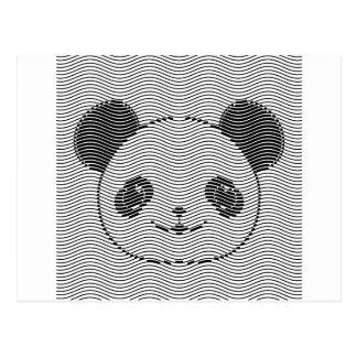 Cartão Postal Cara do urso de panda no teste padrão de onda