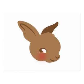 Cartão Postal cara marrom do coelho do bebê