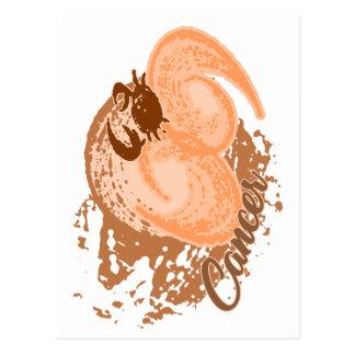 Cartão Postal Caranguejo alaranjado do horóscopo do cancer