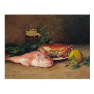 Cartão Postal Caranguejo e salmonete vermelho