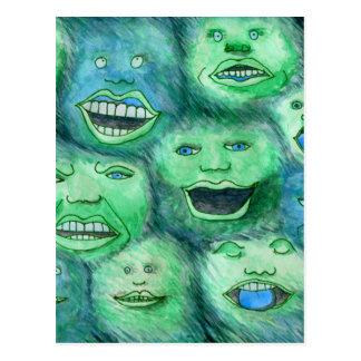 Cartão Postal Caras engraçadas. Monstro dos desenhos animados do