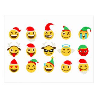 Cartão Postal caras felizes do emoji do xmas