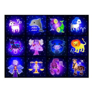 Cartão Postal Caráteres bonitos do zodíaco