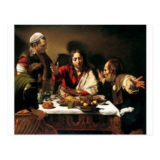 Cartão Postal Caravaggio - ceia em Emmaus - pintura clássica