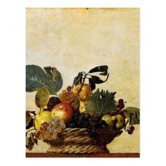 Cartão Postal Caravaggio - cesta da fruta - trabalhos de arte
