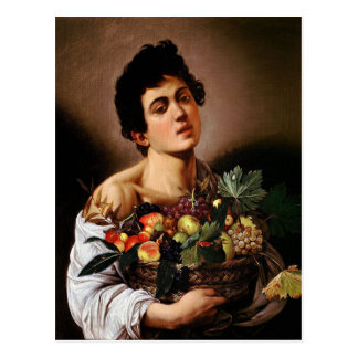 Cartão Postal Caravaggio - menino com uma cesta de trabalhos de