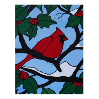 Cartão Postal Cardeal vermelho do Natal
