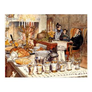 Cartão Postal Carl Larsson: Detalhe de Noite de Natal, arte de