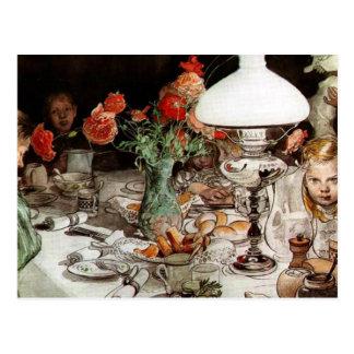 Cartão Postal Carl Larsson - em torno da lâmpada