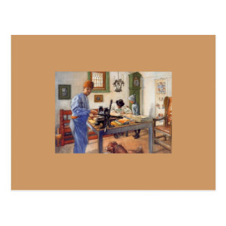 Cartão Postal Carl Larsson na oficina 1853