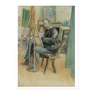 Cartão Postal Carl Larsson que pinta com sua filha
