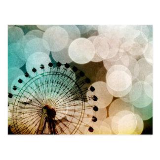 Cartão Postal Carnaval azul da roda de ferris do bokeh Pastel