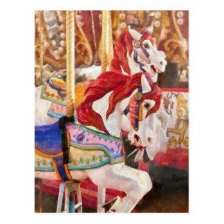 Cartão Postal Carnaval - cavalos do carrossel
