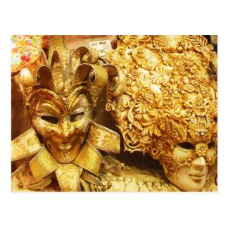 Cartão Postal Carnaval da máscara do bobo da corte do ouro do