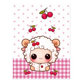 Cartão Postal Carneiros bonitos do bebê com cerejas do kawaii