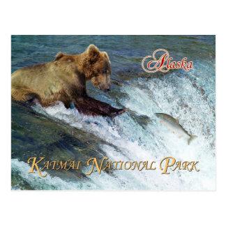 Cartão Postal Carregue travar salmões, parque nacional de