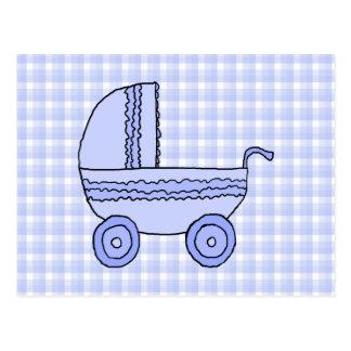 Cartão Postal Carrinho de criança de bebê. Luz - azul no teste