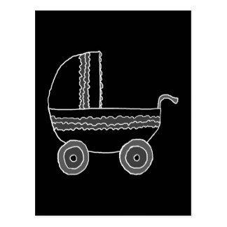 Cartão Postal Carrinho de criança de bebê preto e branco