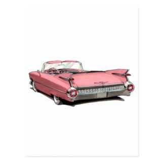 Cartão Postal Carro 1959 cor-de-rosa do cadillac