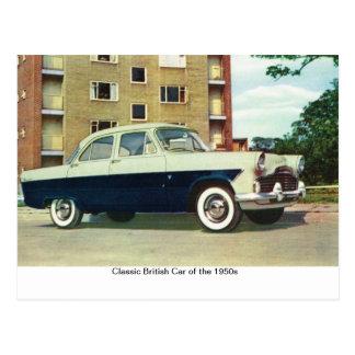 Cartão Postal Carro britânico clássico dos anos 50,