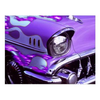 Cartão Postal Carro clássico: Chevrolet com capa flamejante
