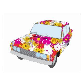 Cartão Postal Carro da flor do hippy