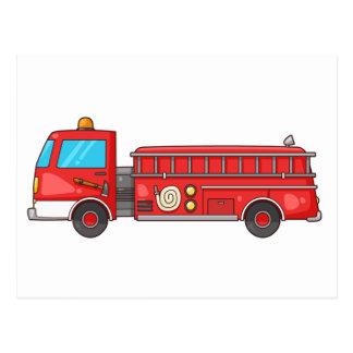 Cartão Postal Carro de bombeiros/motor dos desenhos animados