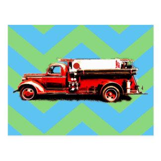 Cartão Postal Carro de bombeiros vermelho do vintage
