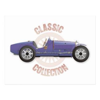 Cartão Postal Carro de competência azul velho do vintage usado