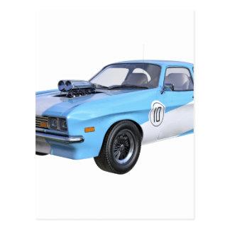 Cartão Postal carro do músculo dos anos 70 em azul e em branco