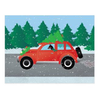 Cartão Postal Carro do Natal do Pinscher diminuto
