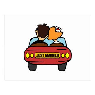 Cartão Postal Carro e casal do recem casados