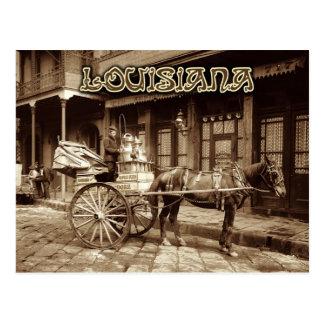 Cartão Postal Carro puxado a cavalo do leite, Nova Orleães,