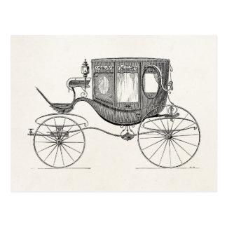 Cartão Postal Carro retro com erros puxado a cavalo da carruagem