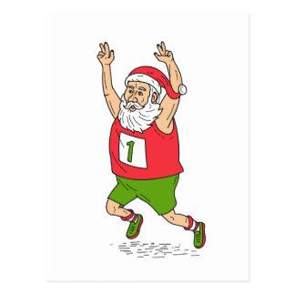 Cartão Postal Carro Running da maratona do Natal do pai de Papai