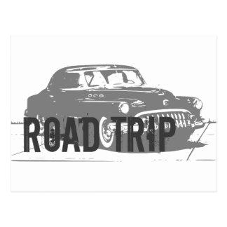 Cartão Postal Carro vintage da viagem por estrada