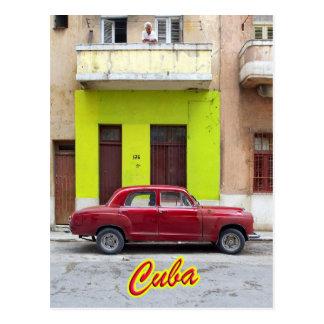 Cartão Postal Carros vintage e fachadas velhas, Havana, Cuba